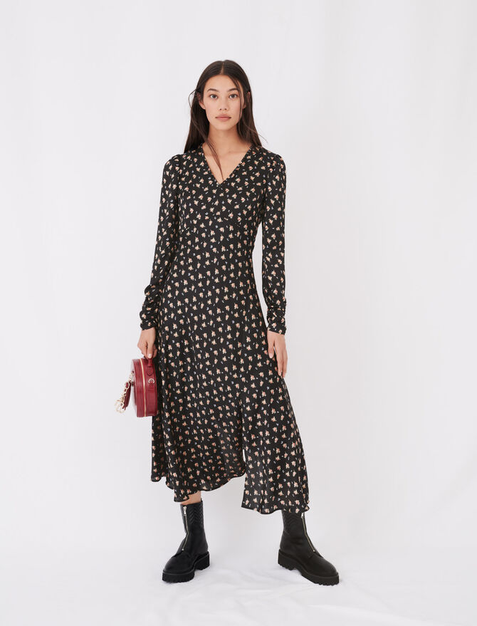 Satin floral print dress - See all - MAJE