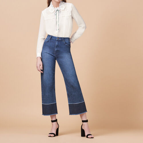 Wide-leg jeans with fringing : Trousers & Jeans color Blue