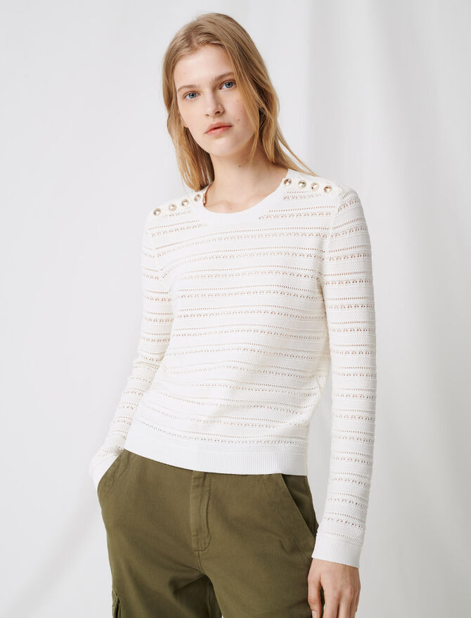 Jumper with intricate button details - Pullovers & Cardigans - MAJE
