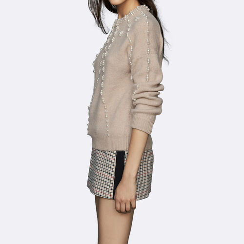 Oversize sweater in wool blend : Knitwear color Beige