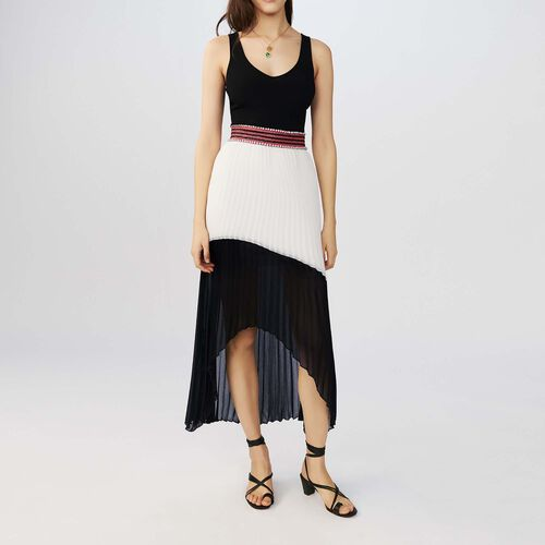 Long pleated bicolor dress : Dresses color Two-Tone