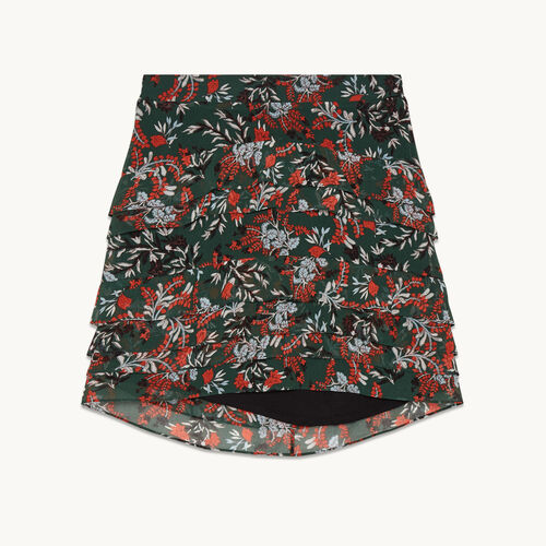 Short asymmetrical printed skirt : See all color Print