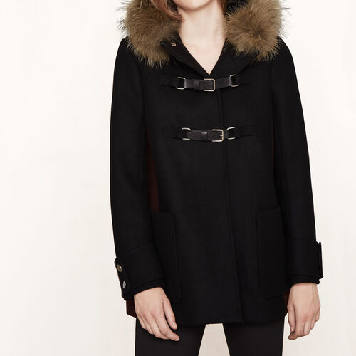 Wool A-line coat : Coats color Black 210