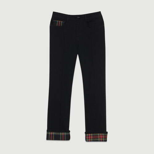 Straight jean with tartan detail : Ready to wear color Black 210