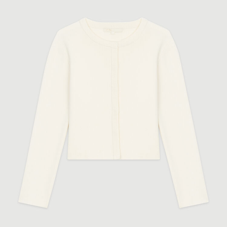 Short cardigan in mixed cotton : Pullovers & Cardigans color Ecru