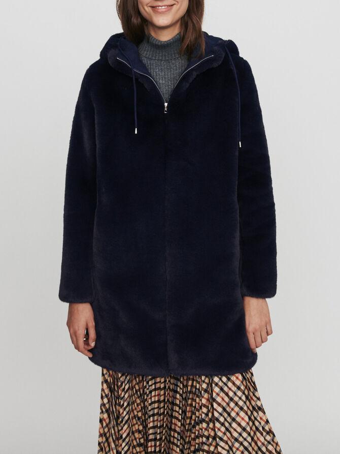 Hooded faux fur jacket -  - MAJE