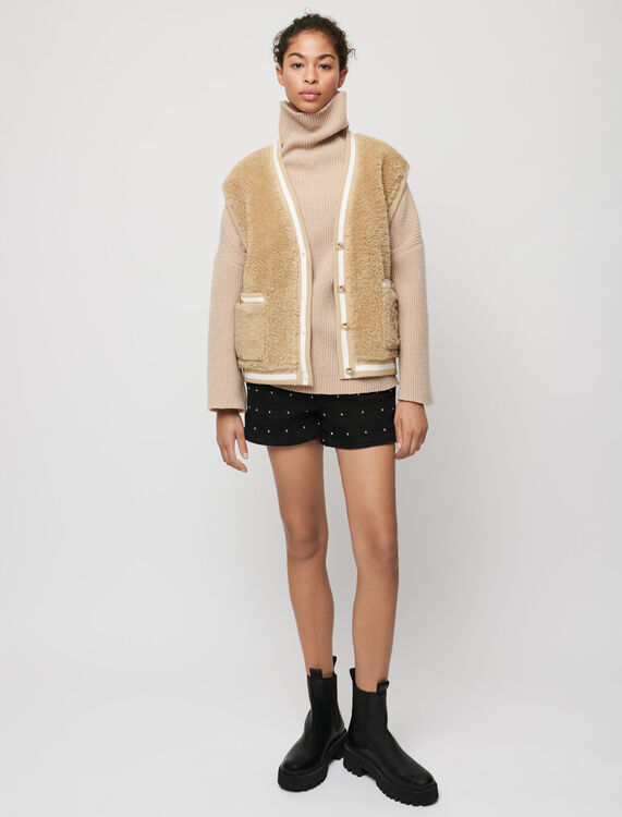 Fur-effect sleeveless cardigan - Pullovers & Cardigans - MAJE