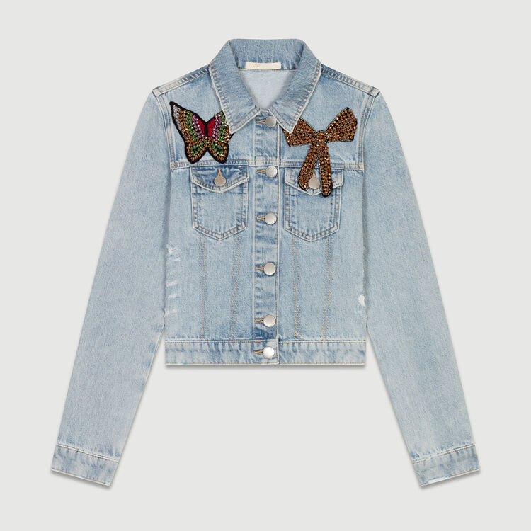 Short denim jacket with badge : Blazers color Blue