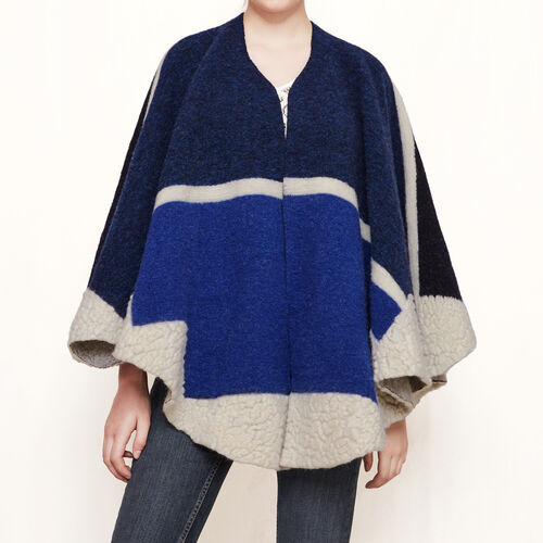Wool poncho : Accessories color Blue