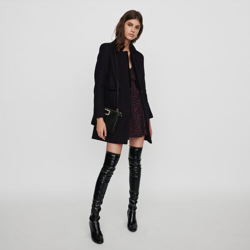 Wool and velvet coat : Coats & Jackets color Black