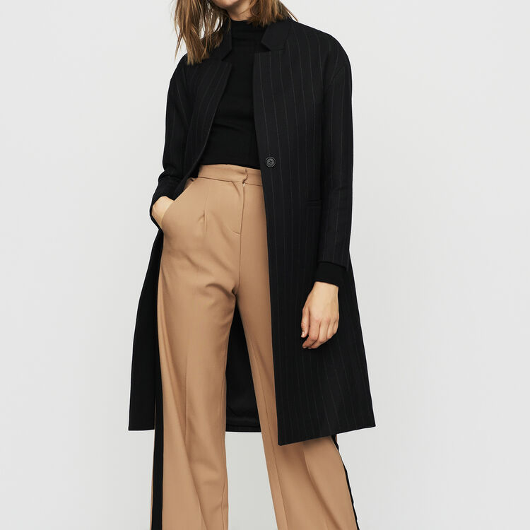 Straight coat with thin stripes : Coats color Stripe
