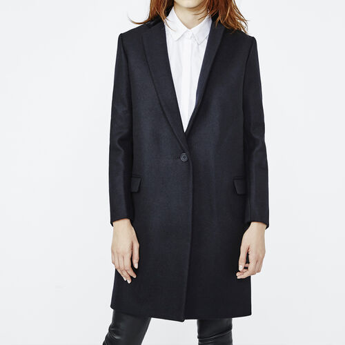 Frock style wool coat : Coats color Navy