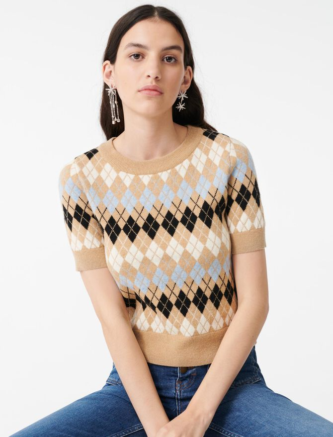 Short-sleeved jacquard sweater - Pullovers & Cardigans - MAJE