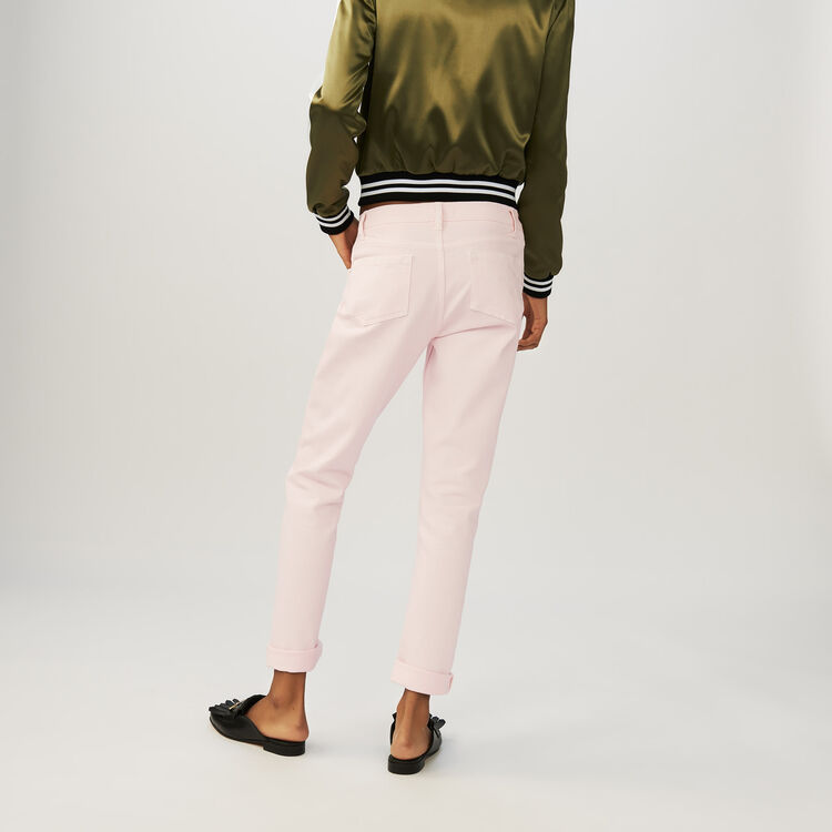 Boyfriend jeans with embroideries : Jeans color Pink