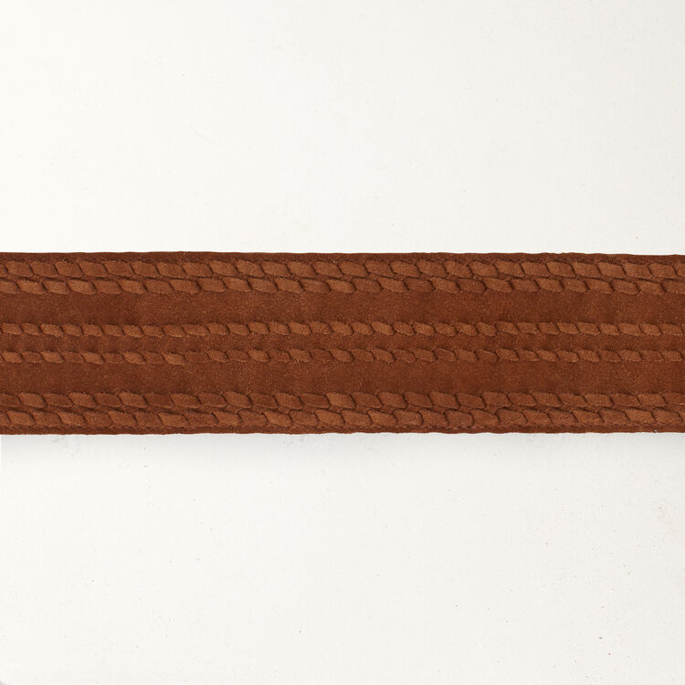 High-waisted suede belt : Belts color Camel