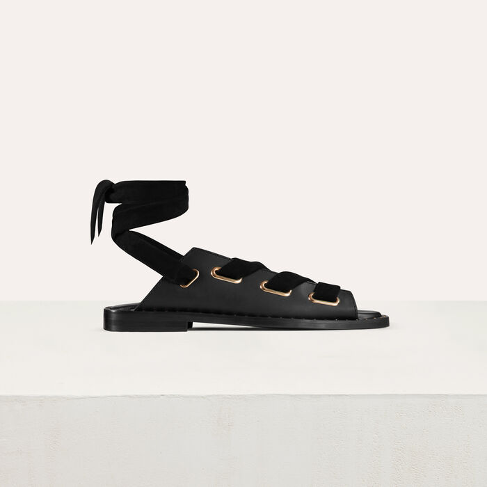 Leather sandals : Flat shoes color Black 210
