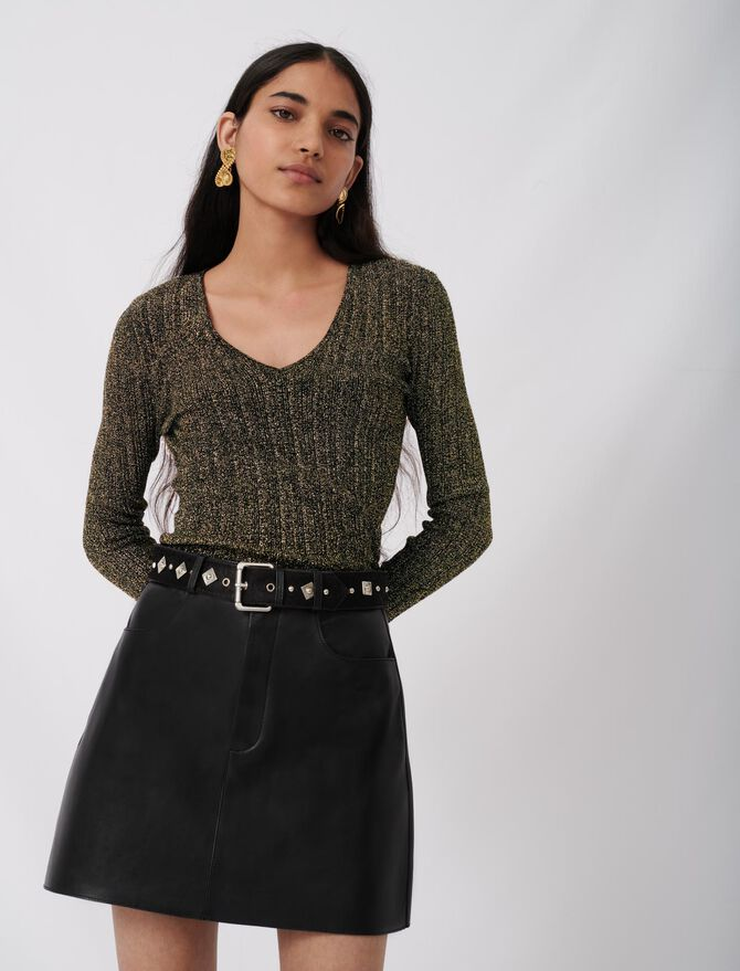 Leather skirt with fancy belt - New collection - MAJE