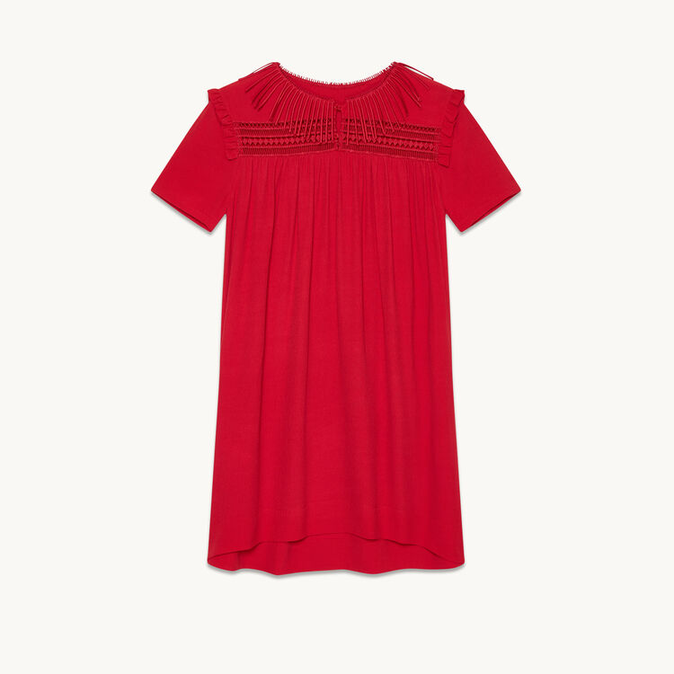 Floaty dress with embroidery : Dresses color Raspberry