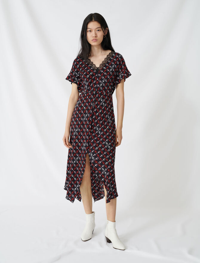 Crêpe maxi dress with scarf print - Dresses - MAJE