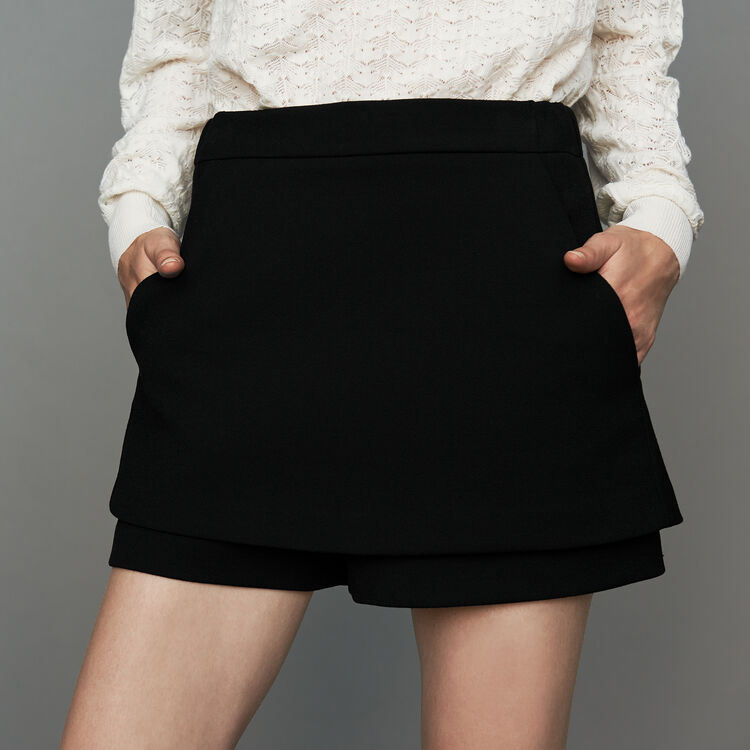 Crepe skort : New Collection color Black 210