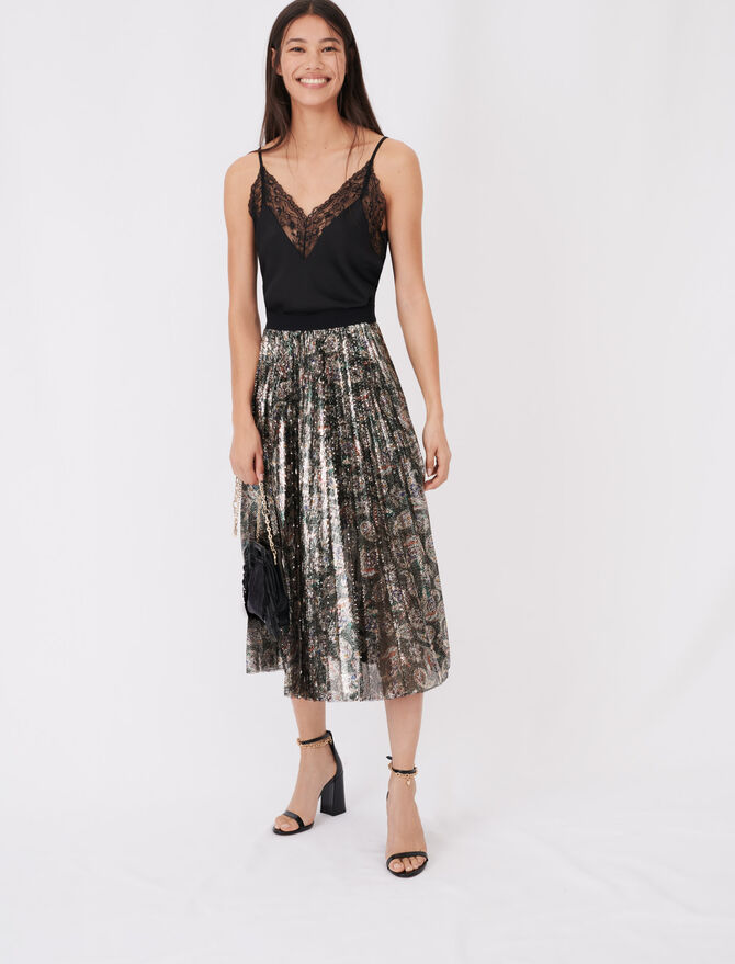 Sequin pleated skirt - tout - MAJE