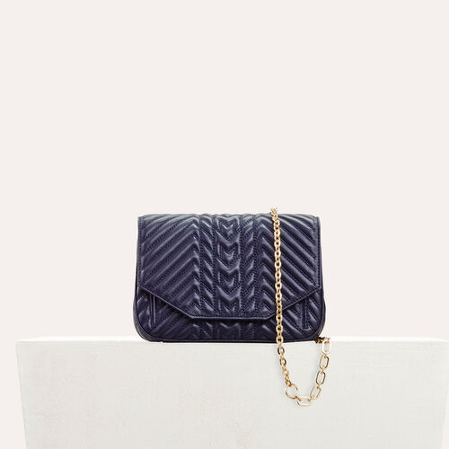 Quilted leather evening bag : Discount color Navy