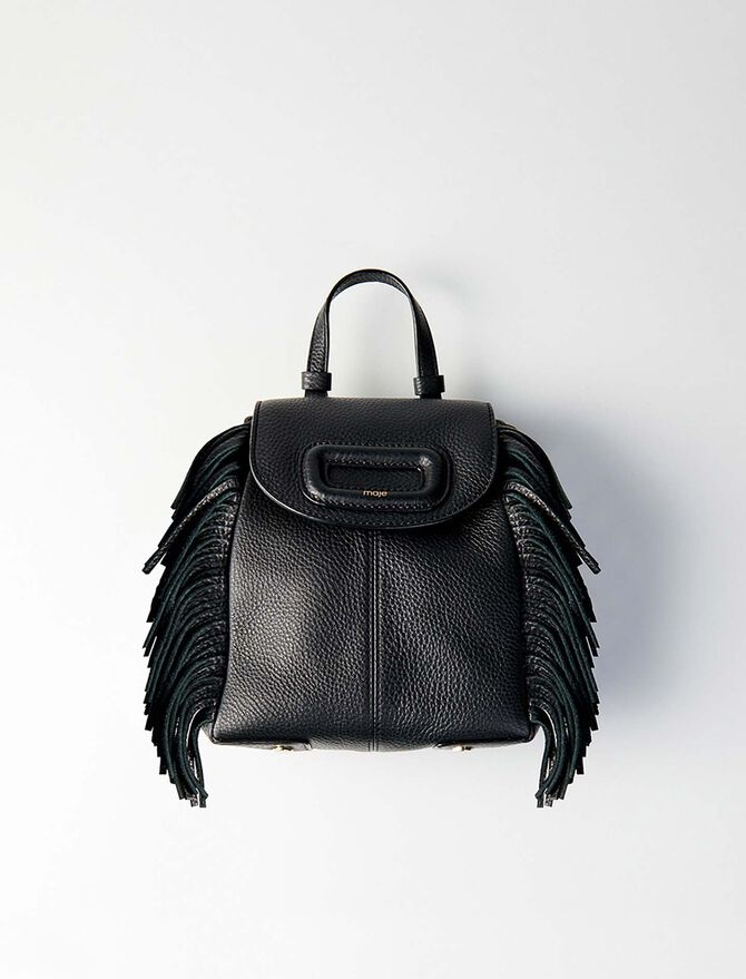 Mini M leather backpack with chain - M Back - MAJE