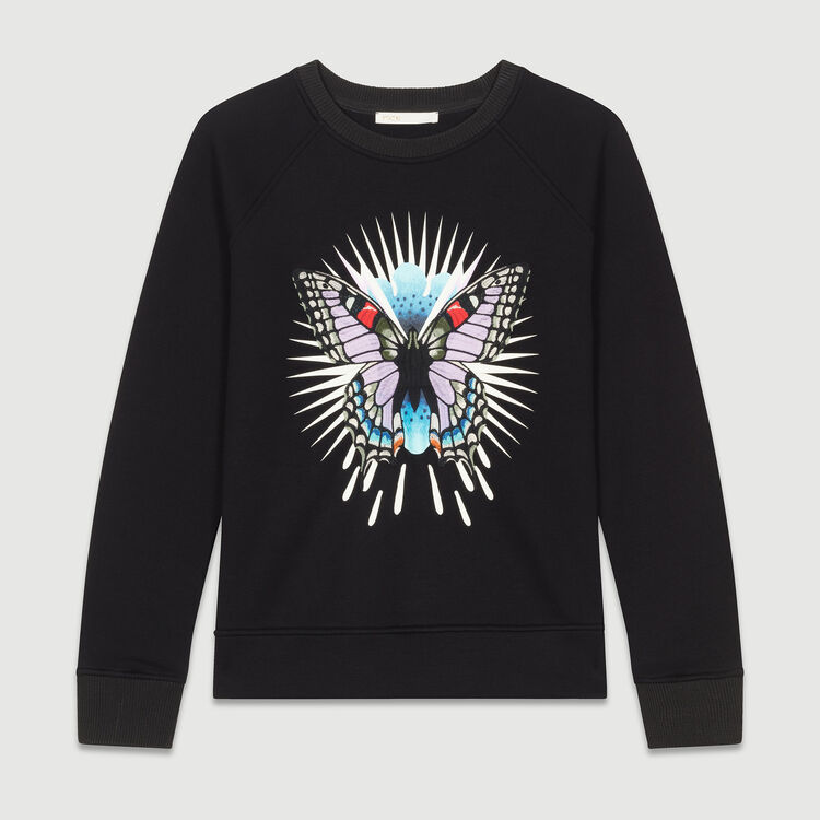 Sweatshirt with embroidered butterfly : T-Shirts color Black 210