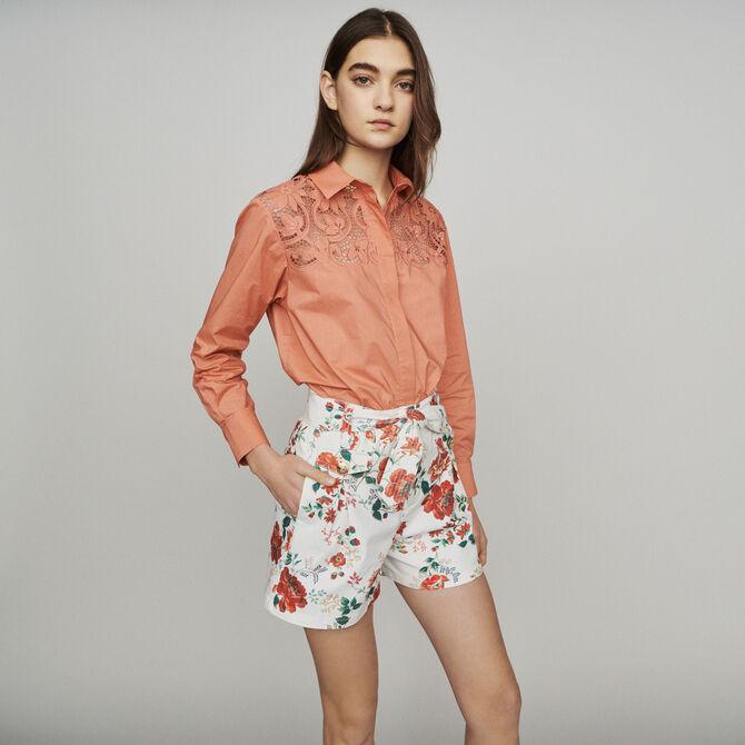 Floral-print denim shorts - See all - MAJE