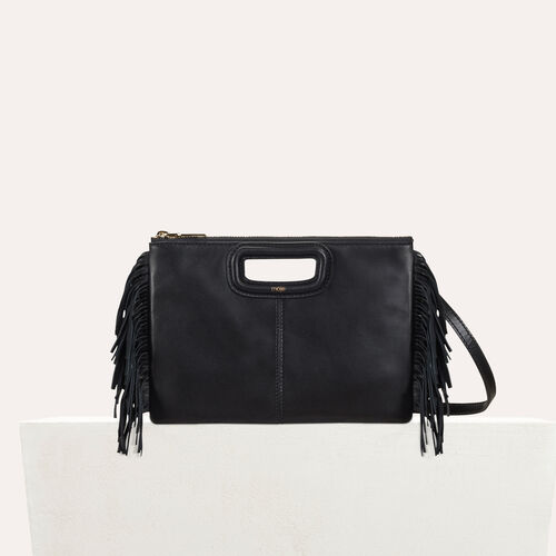 M Duo clutch in leather : M Duo color Black 210