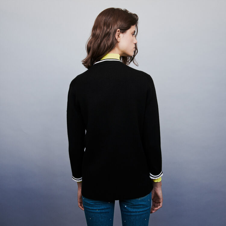 Jeweled contrast cardigan : Pullovers & Cardigans color Black