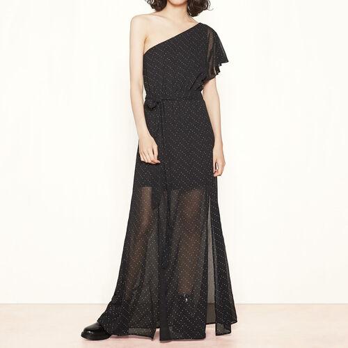 Long, asymmetric dress with studs : Dresses color Black 210