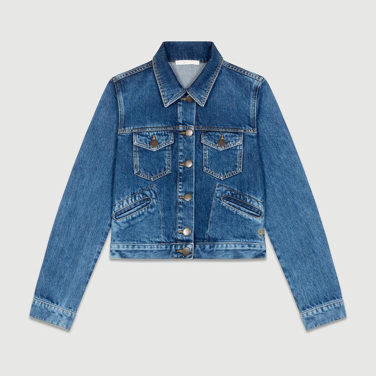 Cropped denim jacket : Blazers color Blue