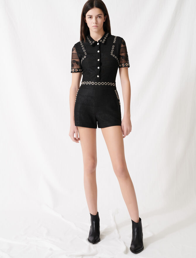 Playsuit with lace and eyelets - Jumpshort & Jumpsuits - MAJE