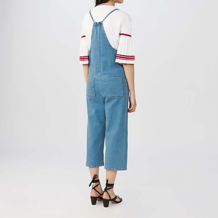 Denim overalls with thin tie-straps : Jeans color Denim
