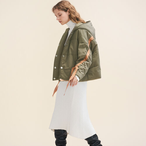 Cropped hooded down jacket : Jackets & Blazers color Khaki