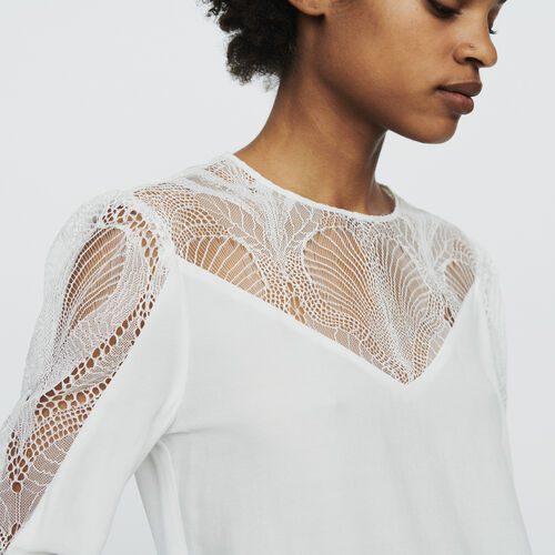 Top with lace : Tops color White