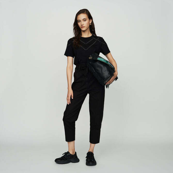 Studded Tshirt - SoldesIT_ALL - MAJE