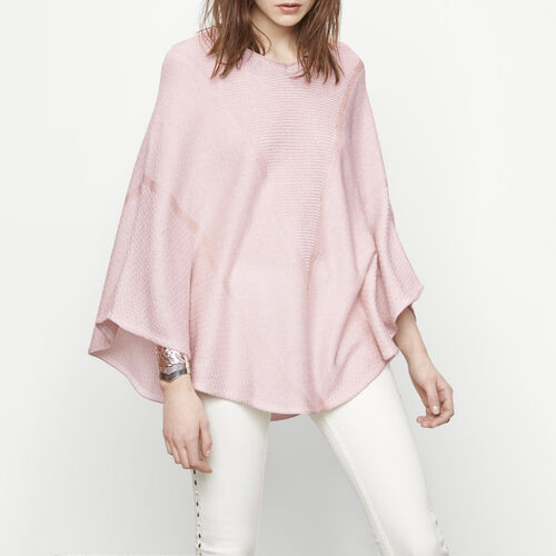 Lurex knit poncho : Sweaters & Cardigans color Nude