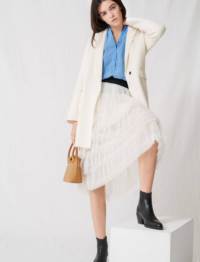 White double-faced midi coat - Pre-Soldes_Remise - MAJE