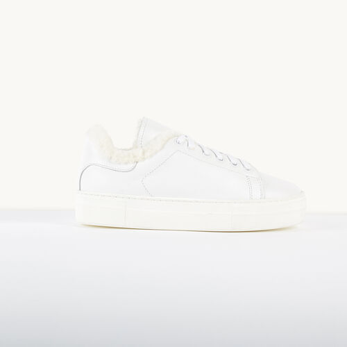 Leather and sheepskin trainers : Accessories color White