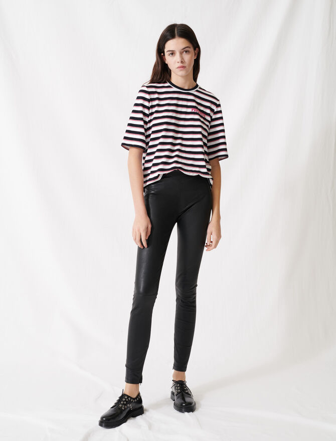Legging cuir stretch taille haute - Trousers & Jeans - MAJE