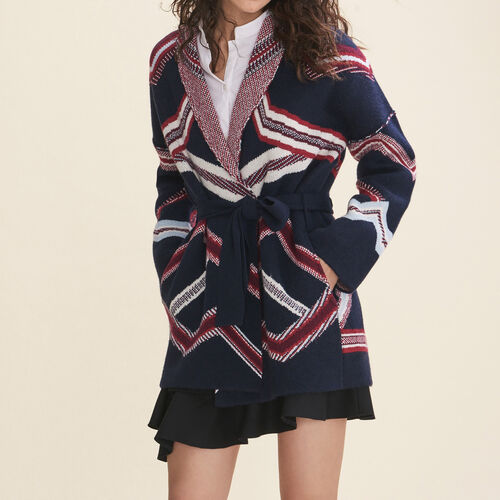Jacquard cardigan : Sweaters & Cardigans color Navy