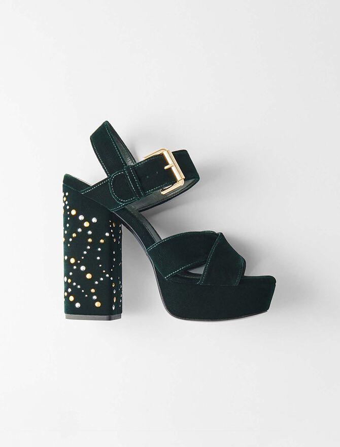 Studded velvet platform sandals - Présoldes-Accessoires-BE - MAJE