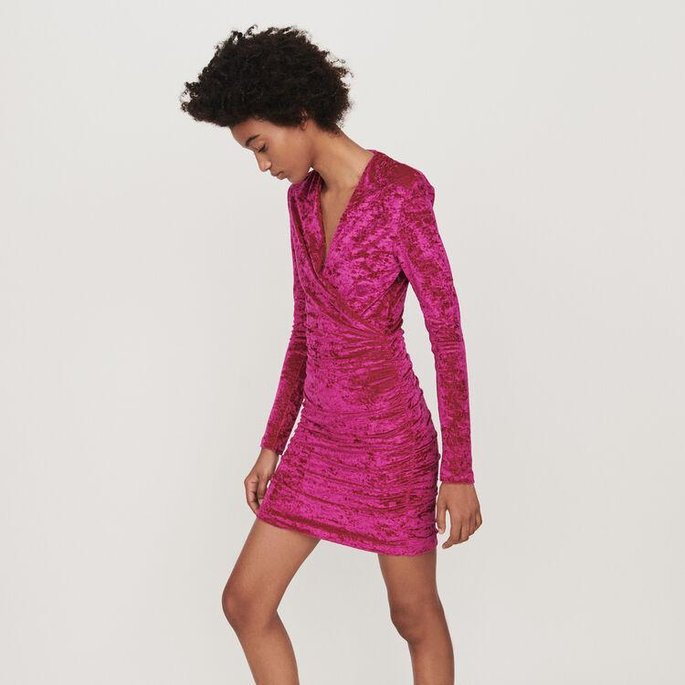 Crushed velvet draped dress : Dresses color Pink
