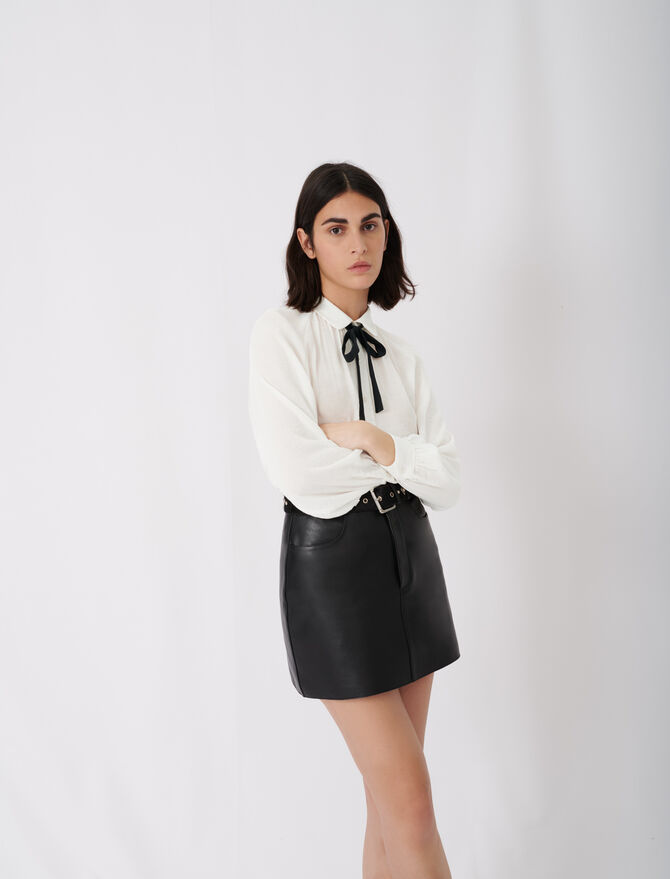Flowing shirt with pussy-bow collar - Star pieces - MAJE
