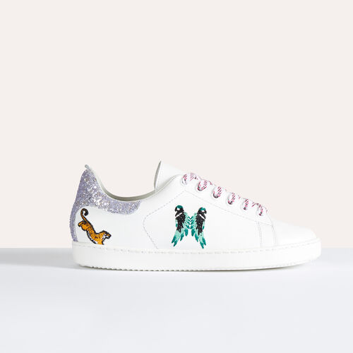 Leather trainers with embroidery - null - MAJE