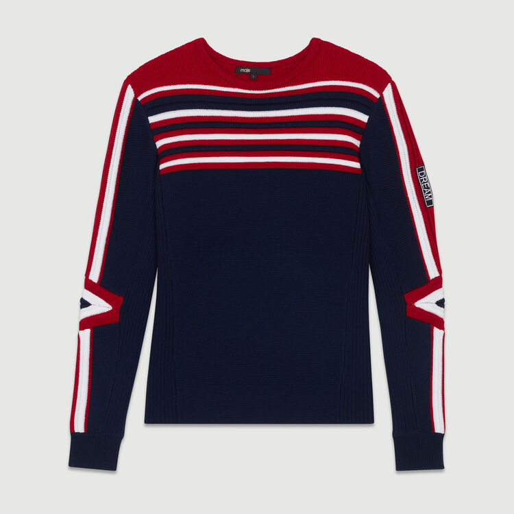 Sweater in novelty tricolor knit : Knitwear color Navy