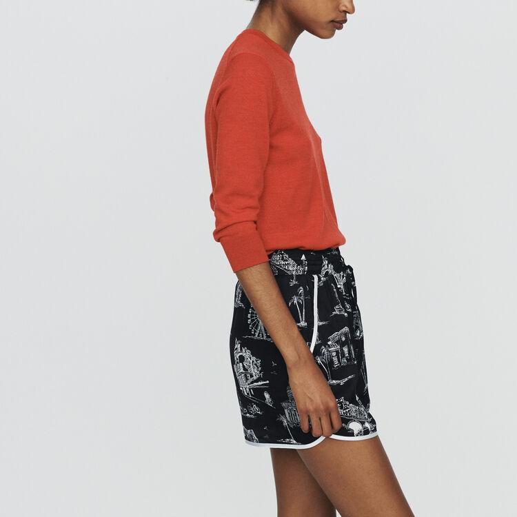 Shorts with Paris print : Skirts & Shorts color BLACK