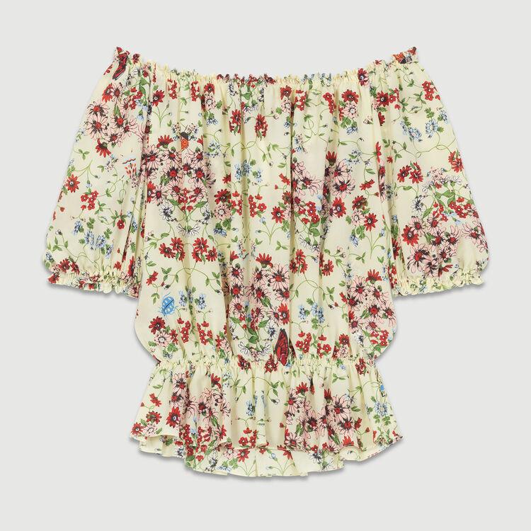 Printed silk top : Tops color PRINTED